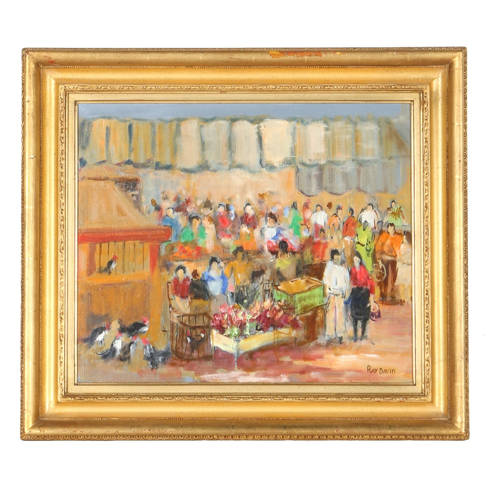 """Ray David Oil Painting on Canvas """"Market Place"""""""