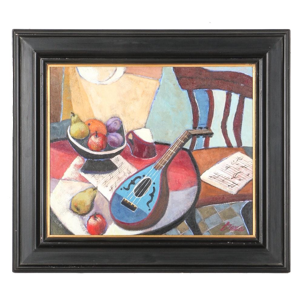 """Ana Maria Deza Oil Painting on Canvas """"Mandolin Still Life"""""""