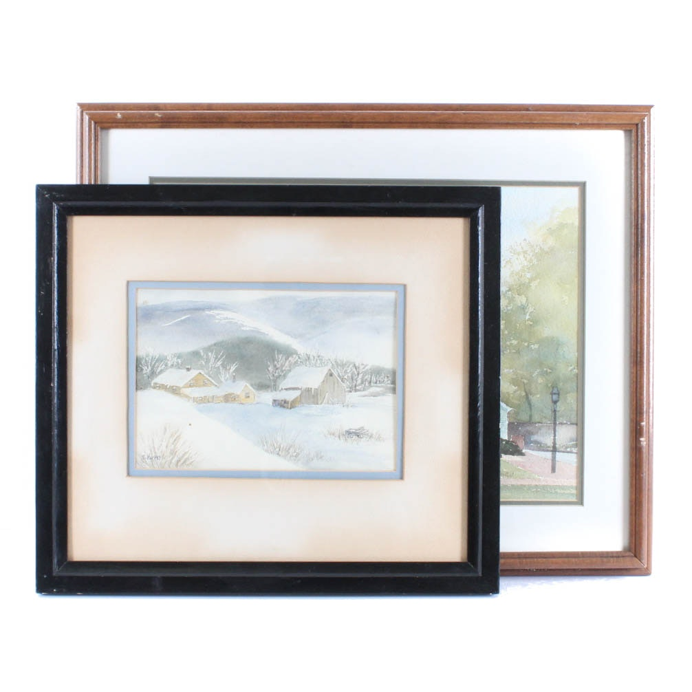 Pair of Signed Watercolor Paintings