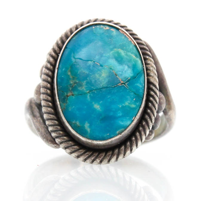 Sterling Silver Imitation Turquoise Ring
