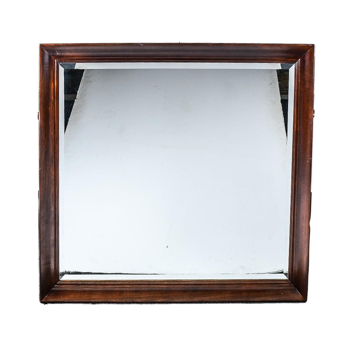 Wooden Framed Beveled Wall Mirror