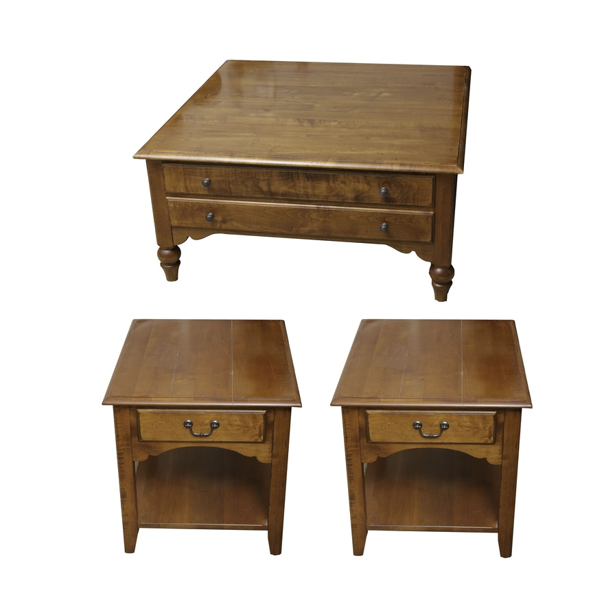 Ethan Allen Coffee Table And Two End Tables Ebth