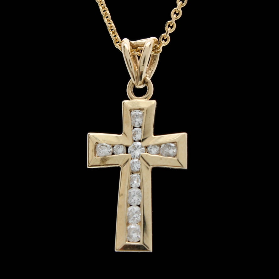 14K Yellow Gold 0.25 CTW Diamond Cross Pendant Necklace