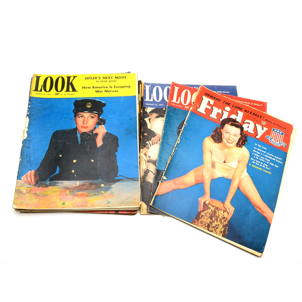 """Collection of WWII Era """"Look"""" and """"Pic"""" Magazines"""