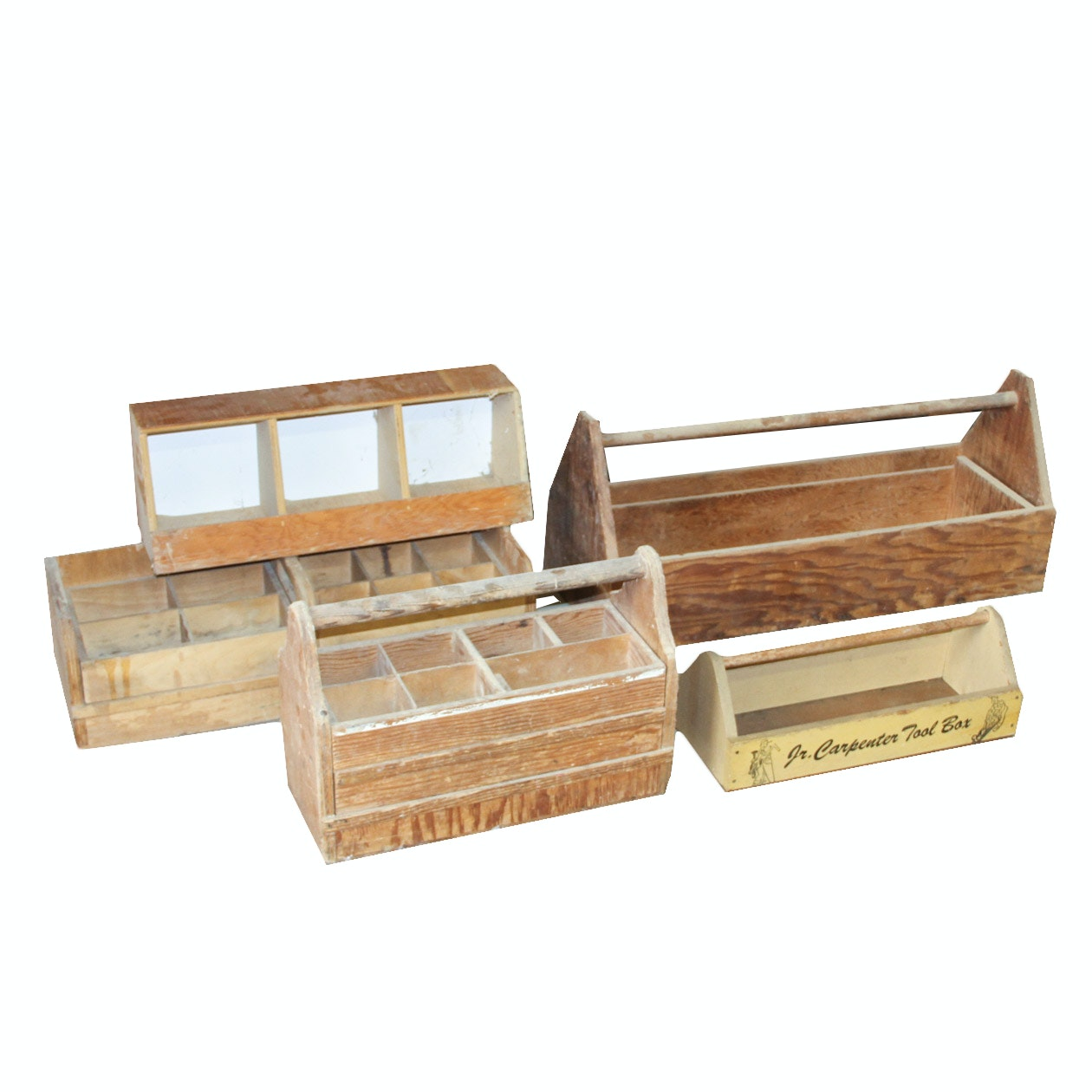 Collection of Vintage Wooden Tool Boxes