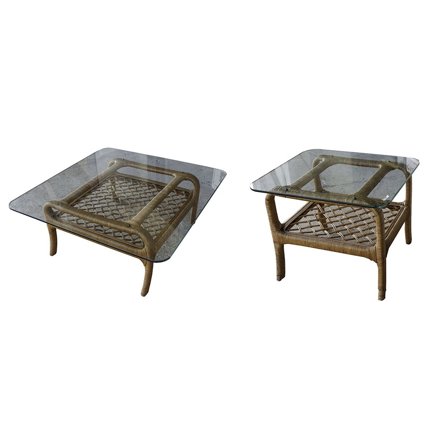 Wicker Coffee Table And End Tables: Vintage Wicker And Glass Coffee And Side Table By Ficks