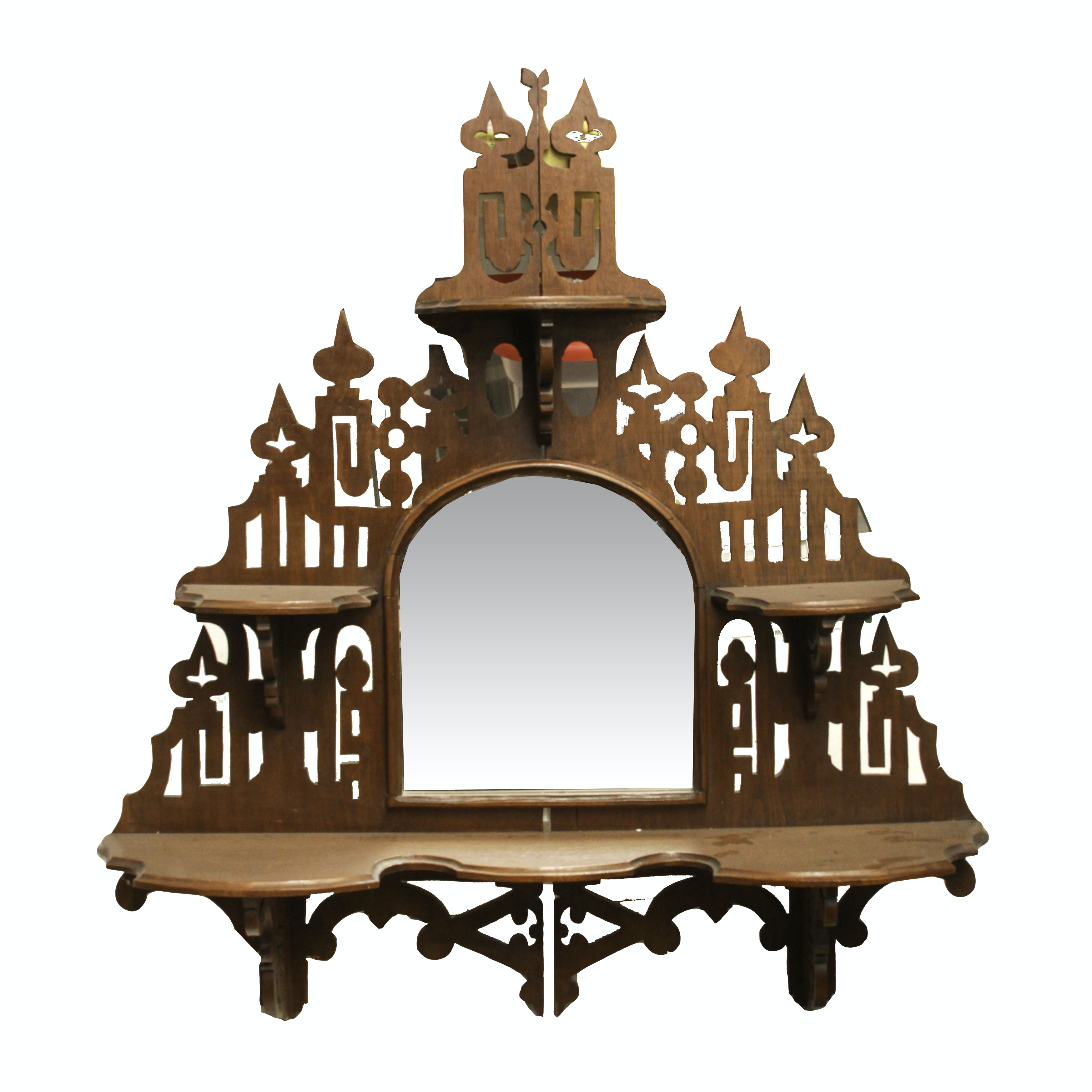 Antique Victorian Mirrored Wall Shelf