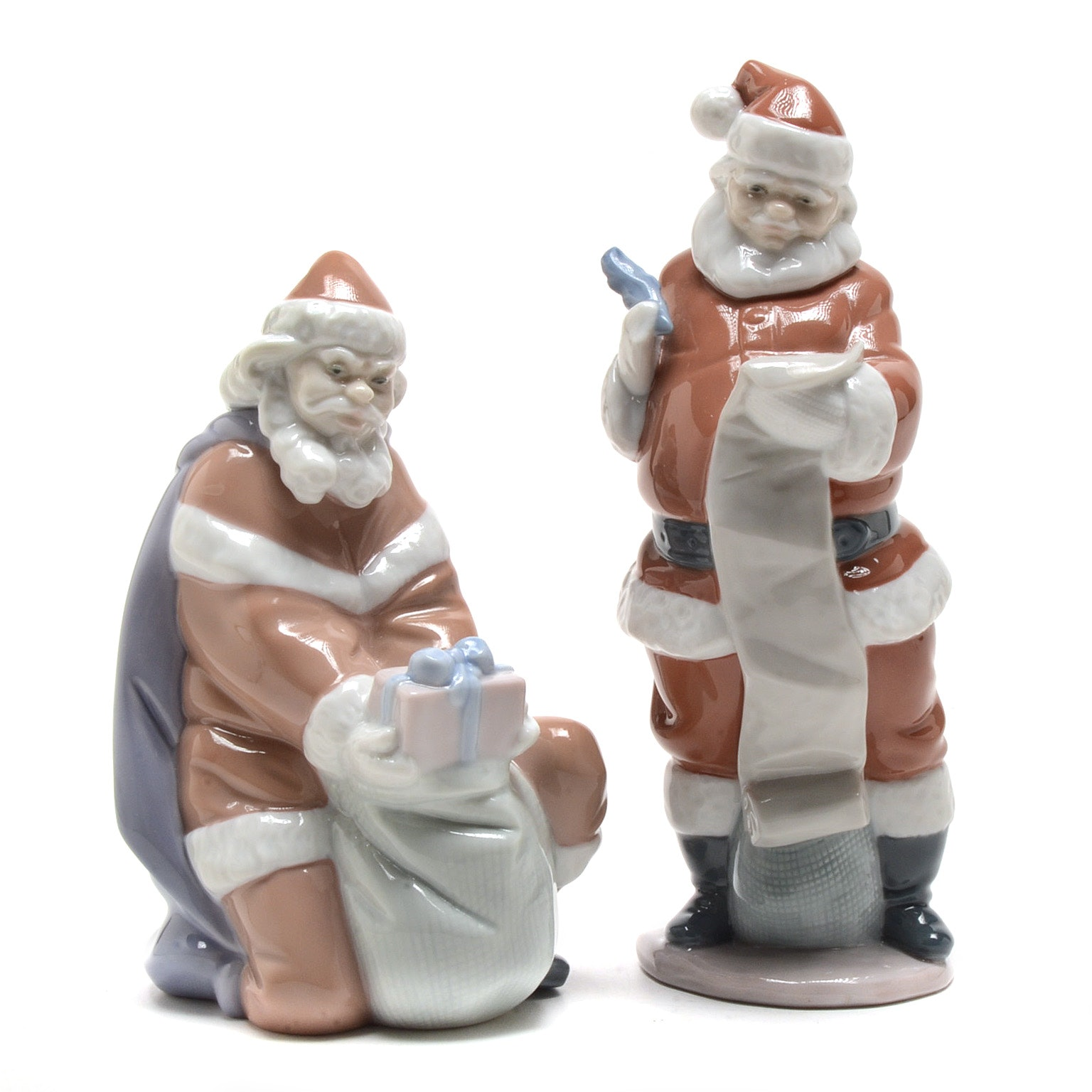 """Lladro """"A Gift From Santa"""" and """"Santa's List"""" Figurines"""