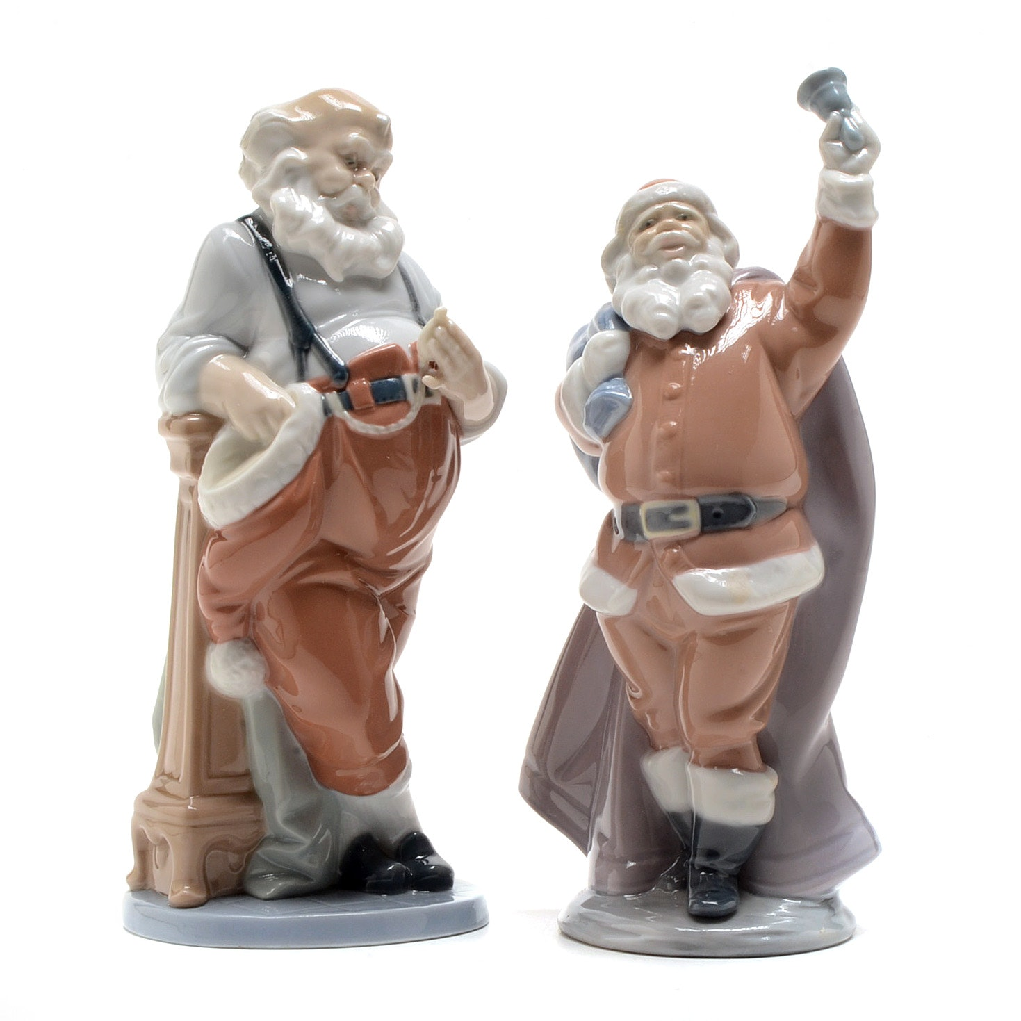 "Lladro ""Santa's Busiest Hour"" and ""Jolly Santa"" Figurines"