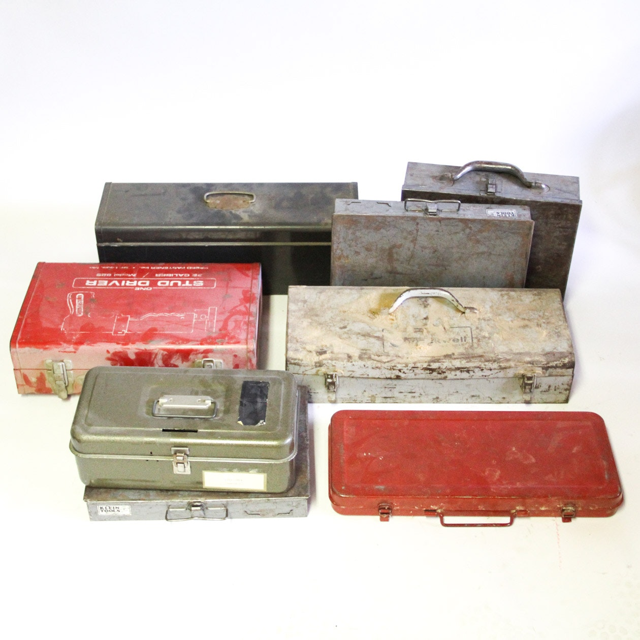 Collection of Metal Toolboxes with Contents