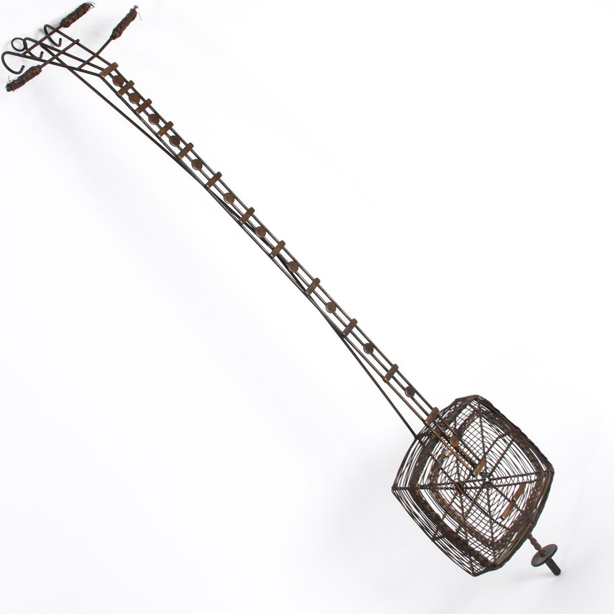 Vintage Wire Sculpture of a Japanese Shamisen Instrument