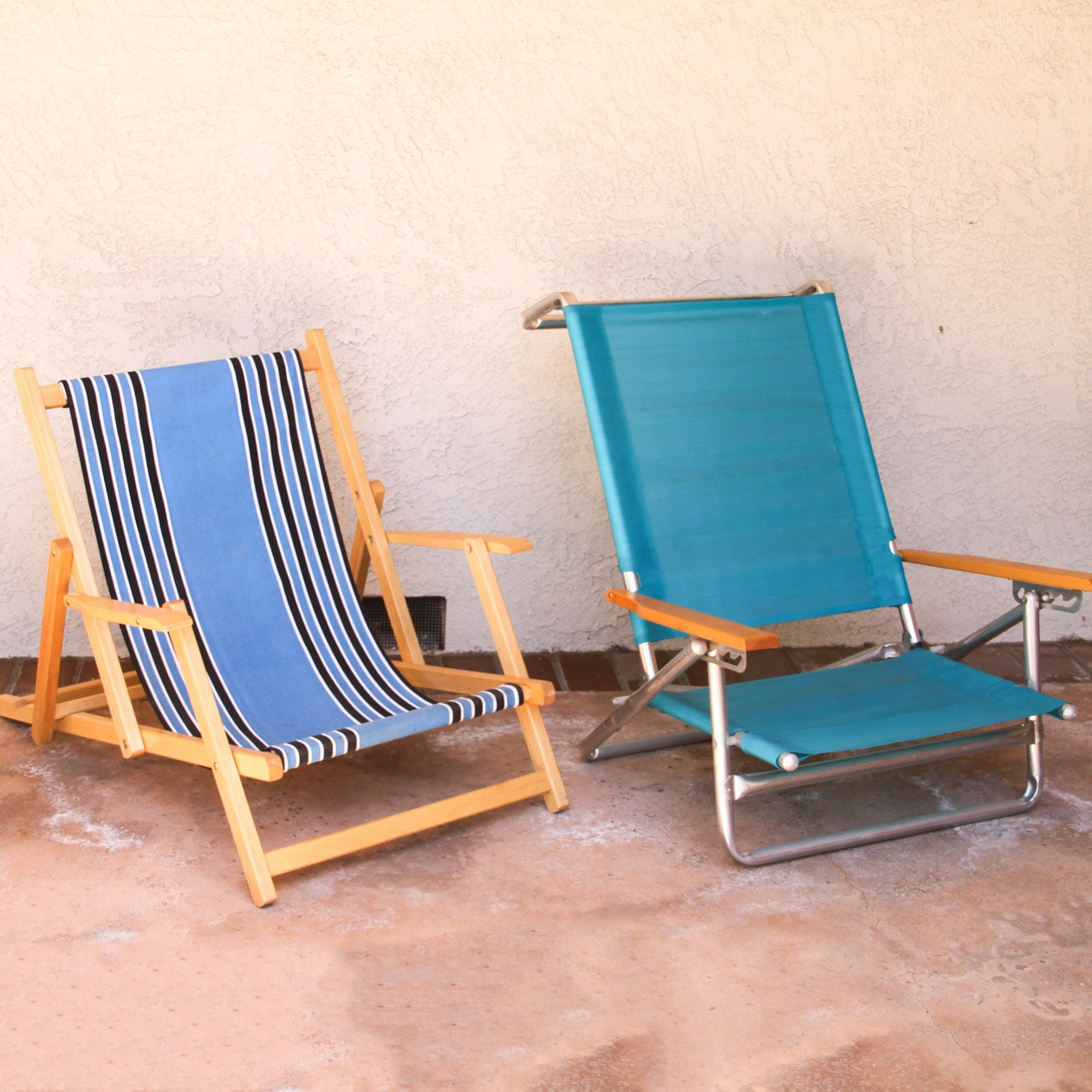 Pair of Vintage Wooden Beach Chairs