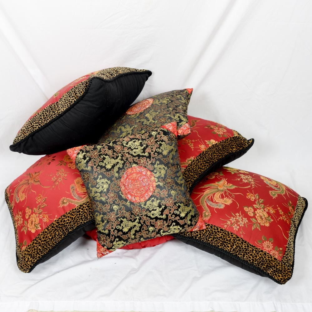 Collection of Embroidered Asian Inspired Pillows