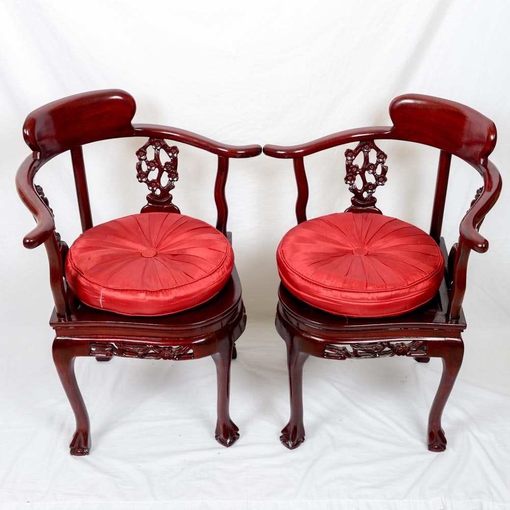 A Pair of Chinese Wooden Corner Chairs
