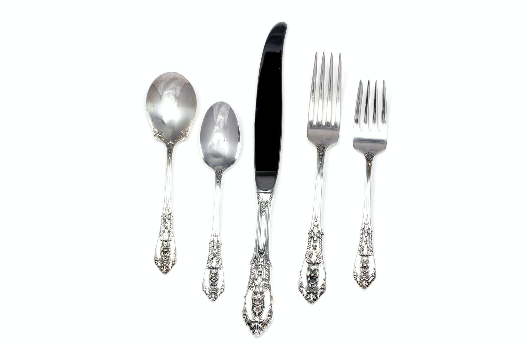 "Wallace Sterling Silver ""Rose Point"" Flatware"