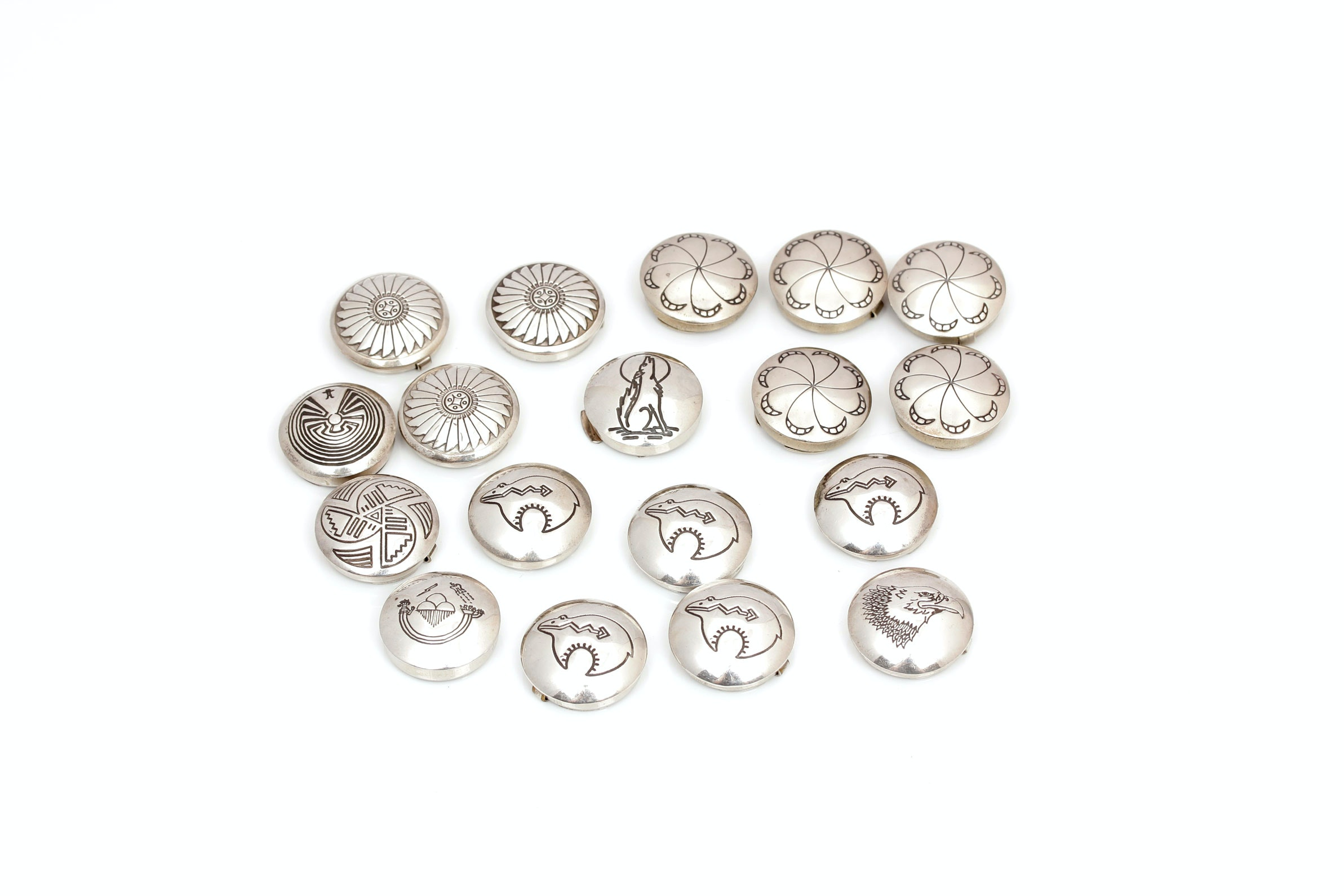 Silver Native American Style Button Covers