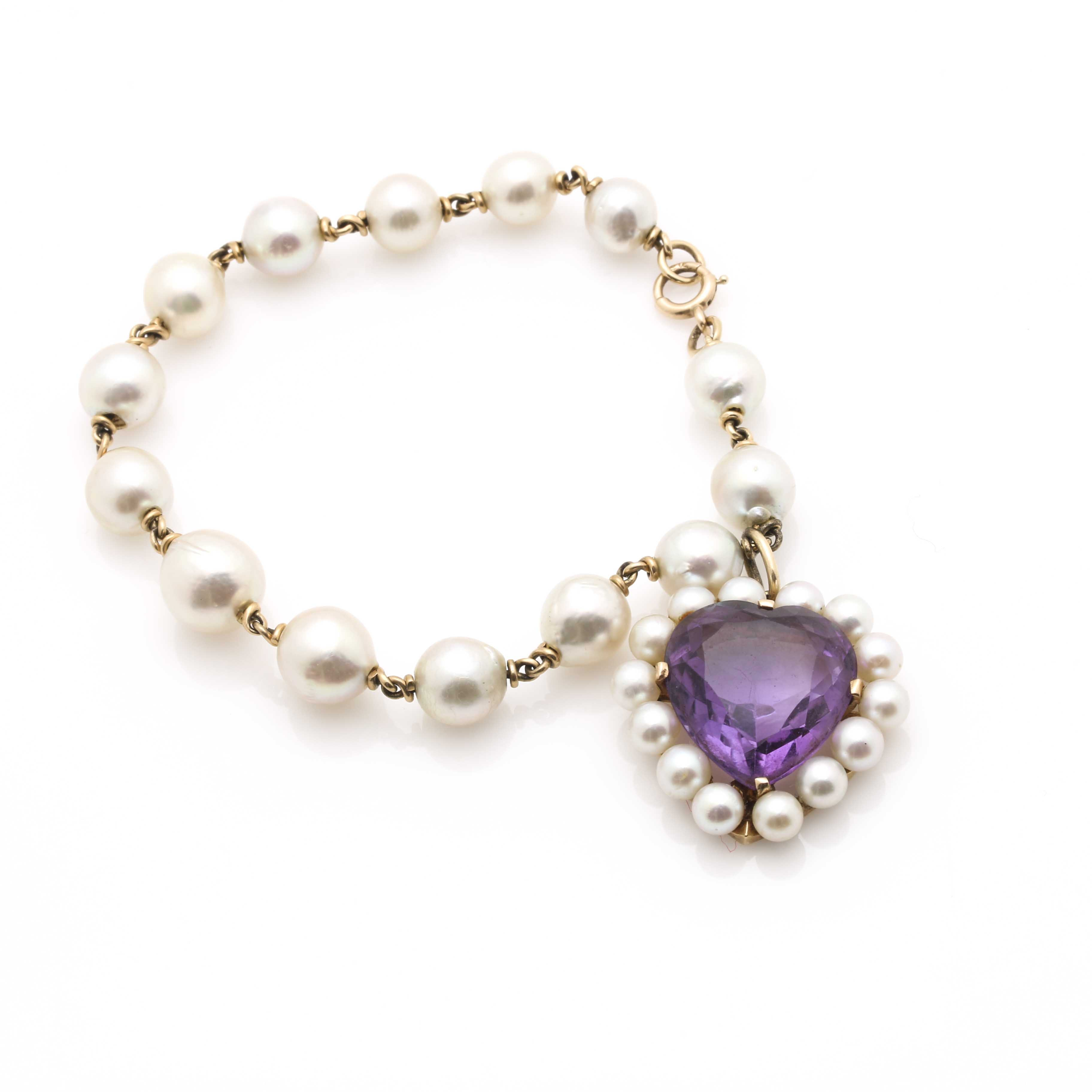 14K Yellow Gold Pearl Strand Bracelet With Amethyst and Pearl Heart Pendant