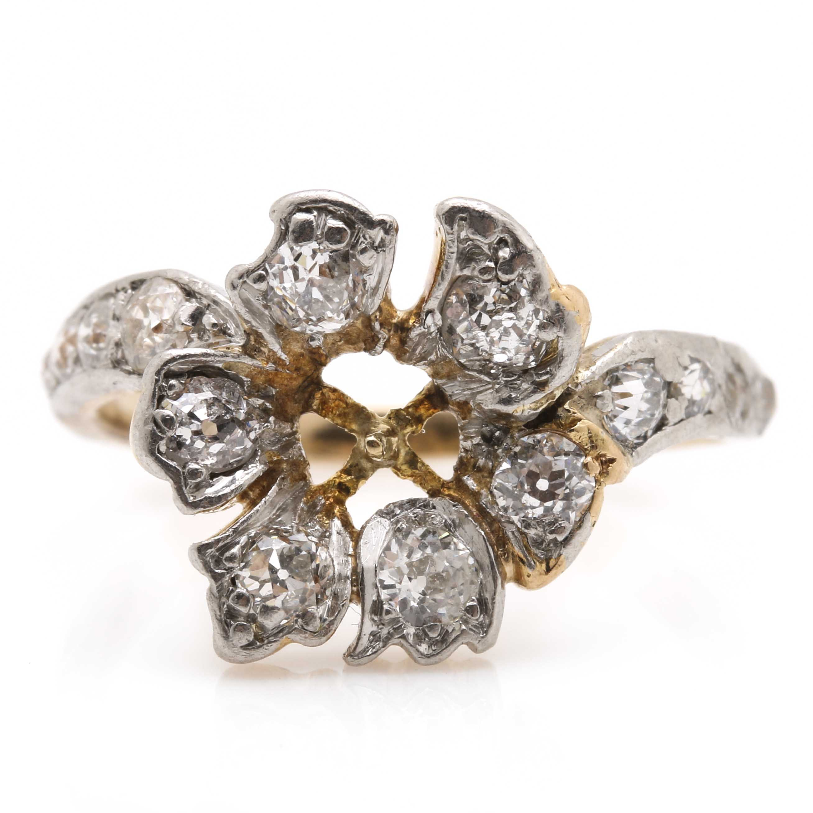 18K Yellow Gold and Platinum Diamond Giardinetti Ring