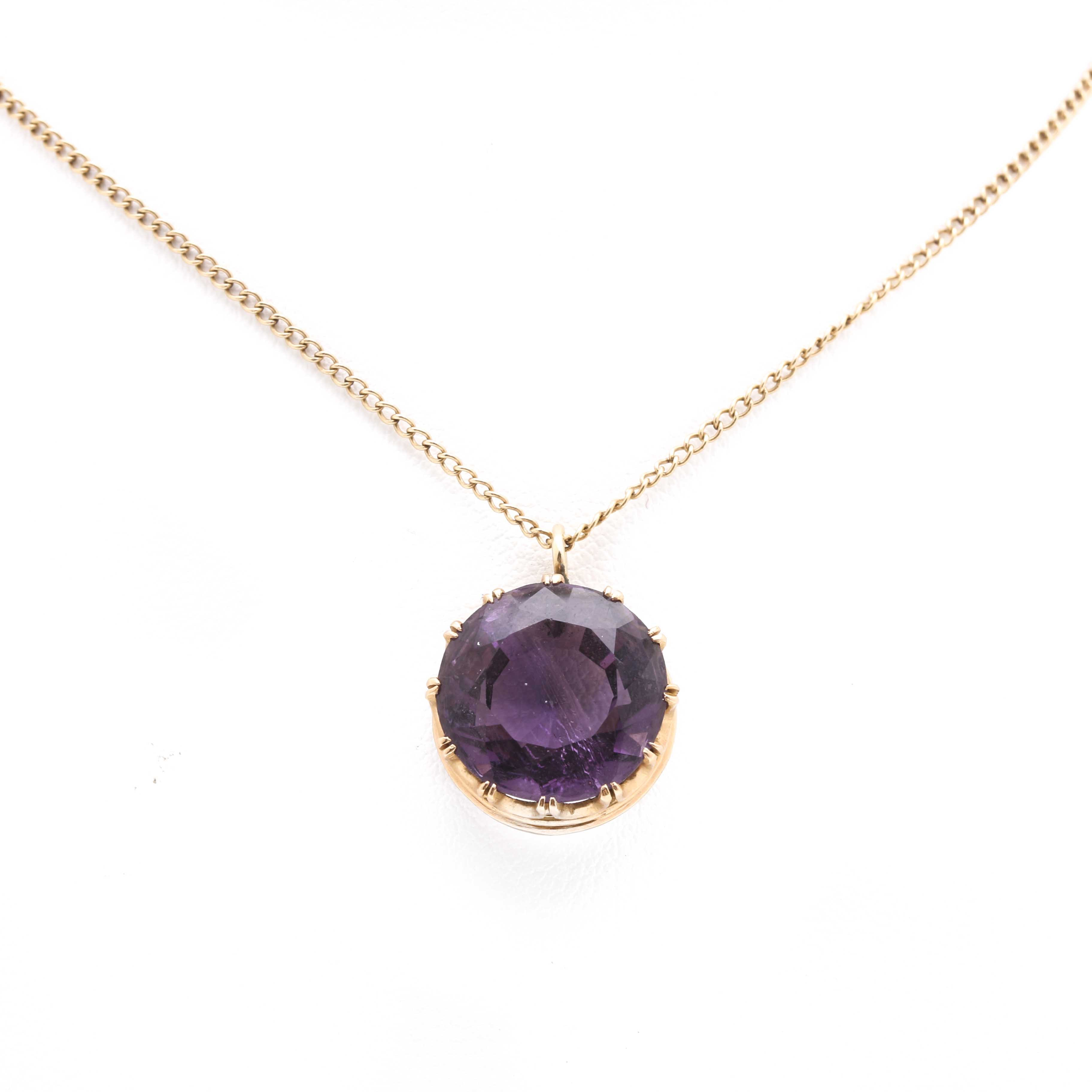 18K Yellow Gold Amethyst Pendant With 14K Chain