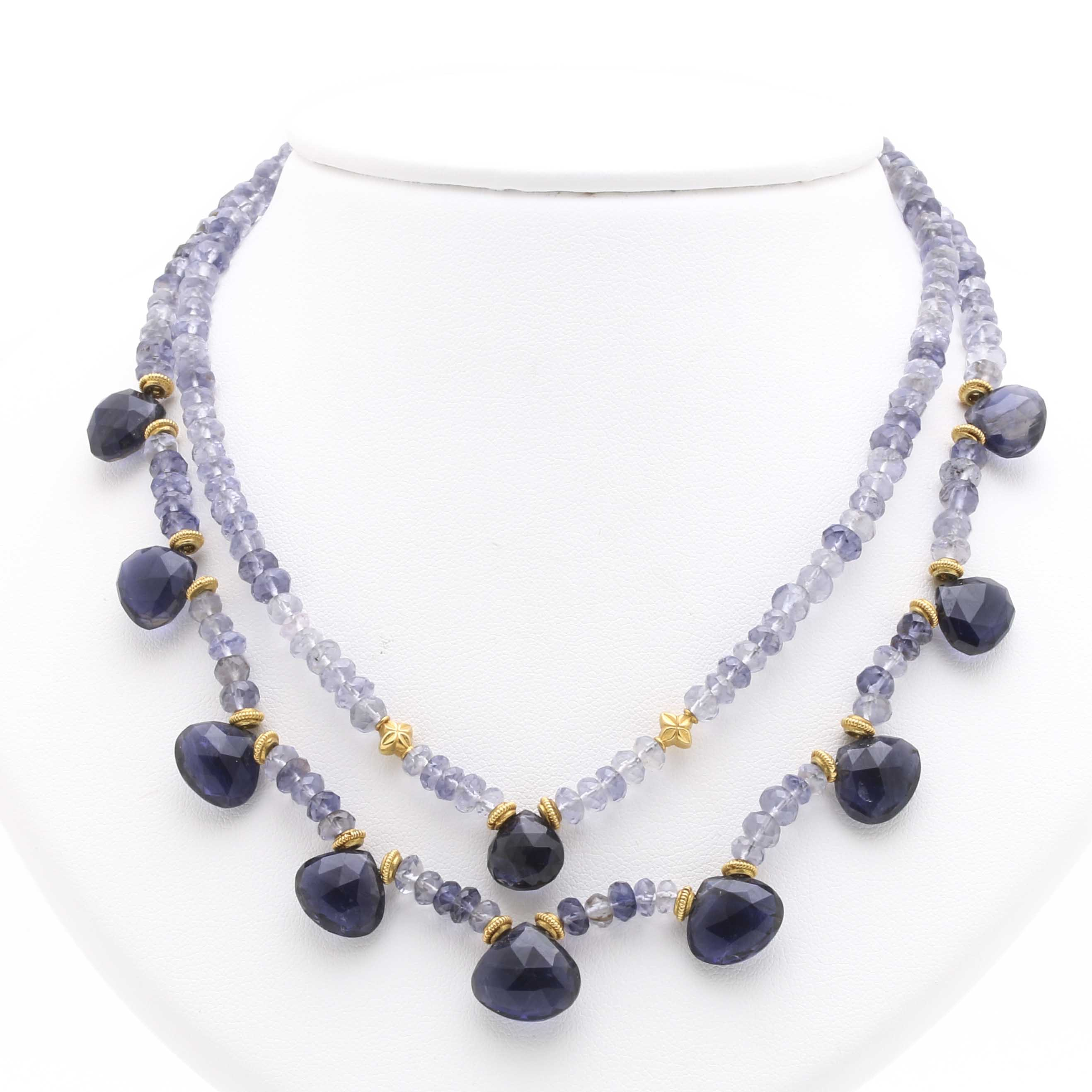 Double Strand Iolite Necklace With 18K Yellow Gold Findings
