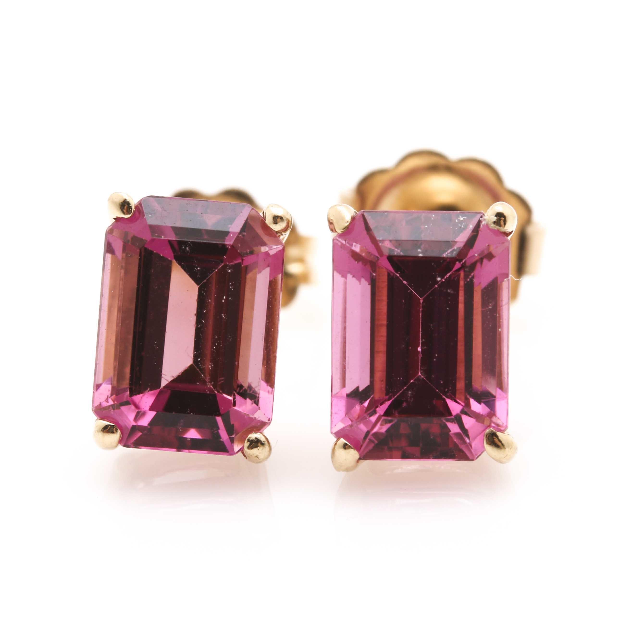 14K Yellow Gold Pink Tourmaline Earrings