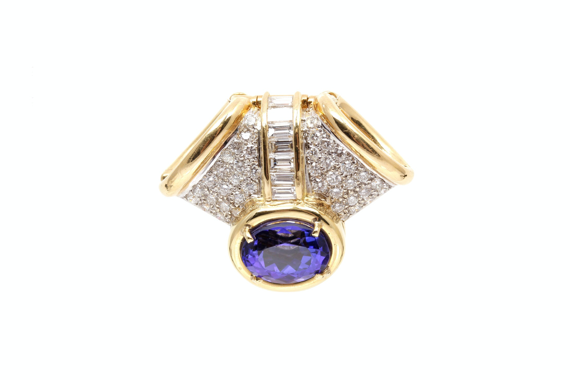 18K Yellow Gold 1.05 CTW Diamond and Tanzanite Slide Pendant