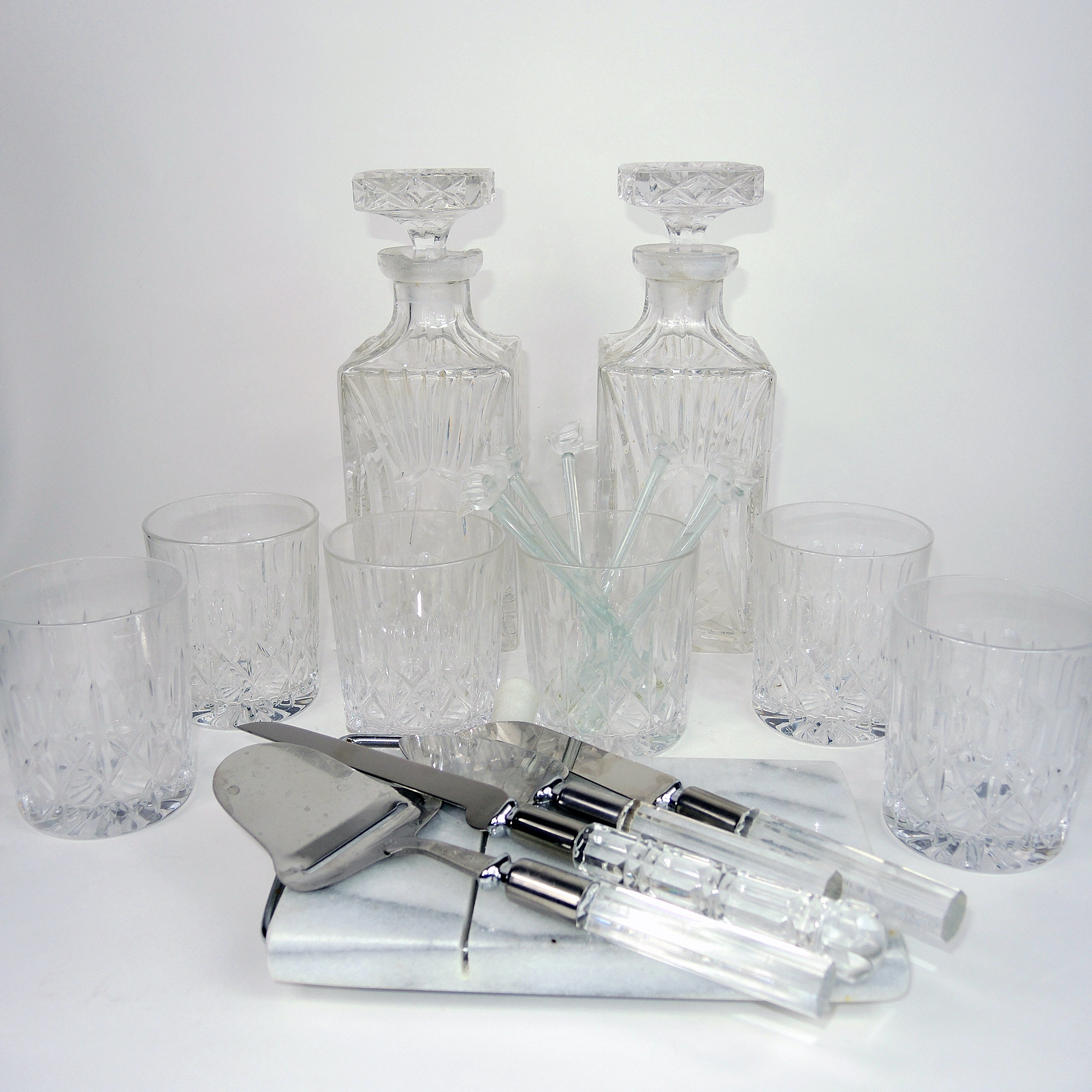 Crystal Glasses, Decanter Set and Marble Cheese Cutter