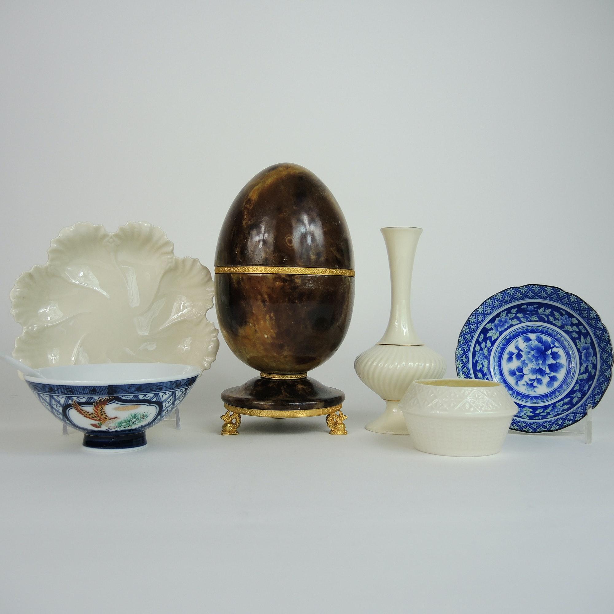 Alabaster Egg Box, Beleek, Lenox and Asian Pottery