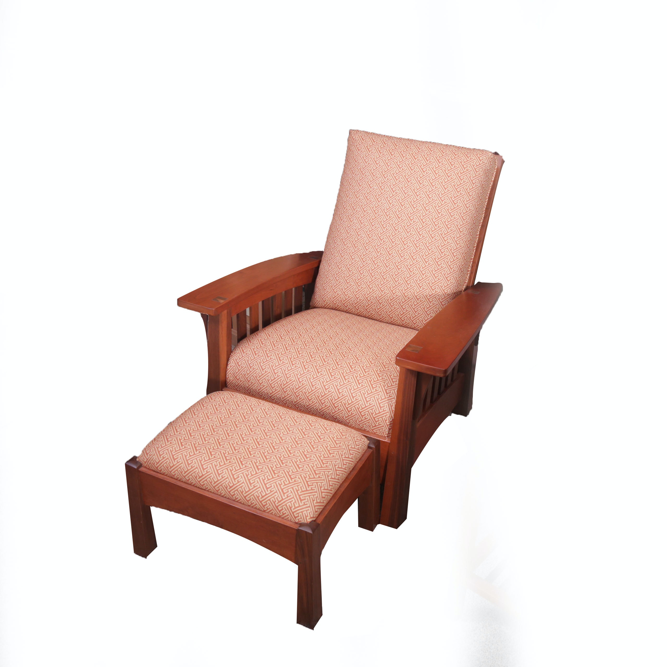 Stickley Furniture Bow Arm Morris Chair with Ottoman