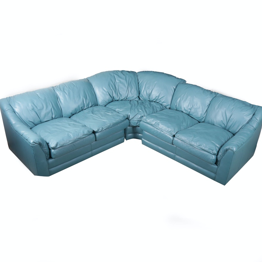 Blue Leather Sectional By Emerson