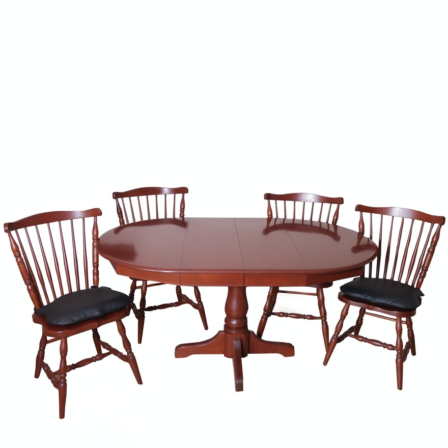 Pedestal Dining Table And Four Windsor Chairs By Martins Chair Inc Lancaster PA