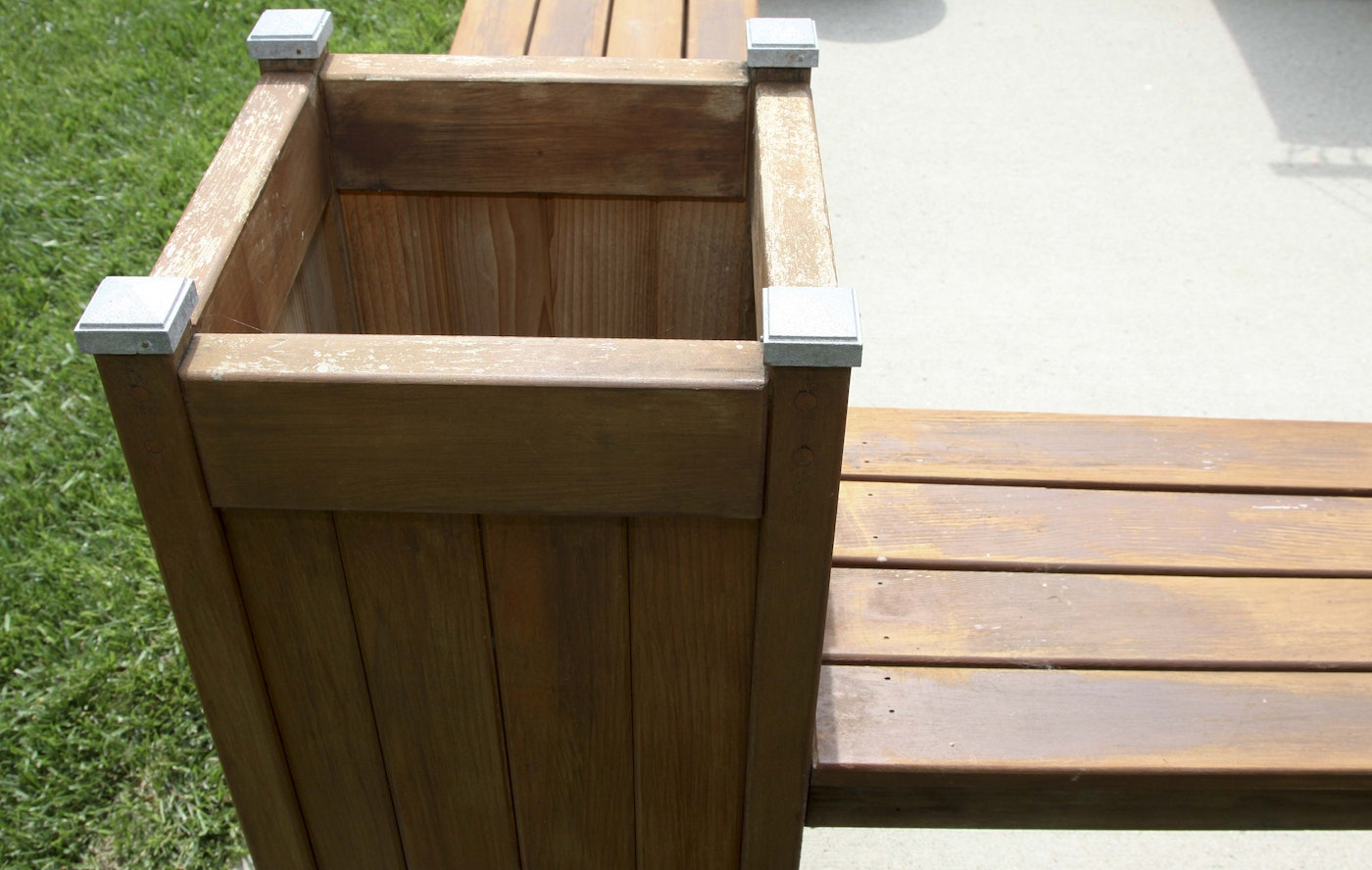Wooden Planter Bench Ebth