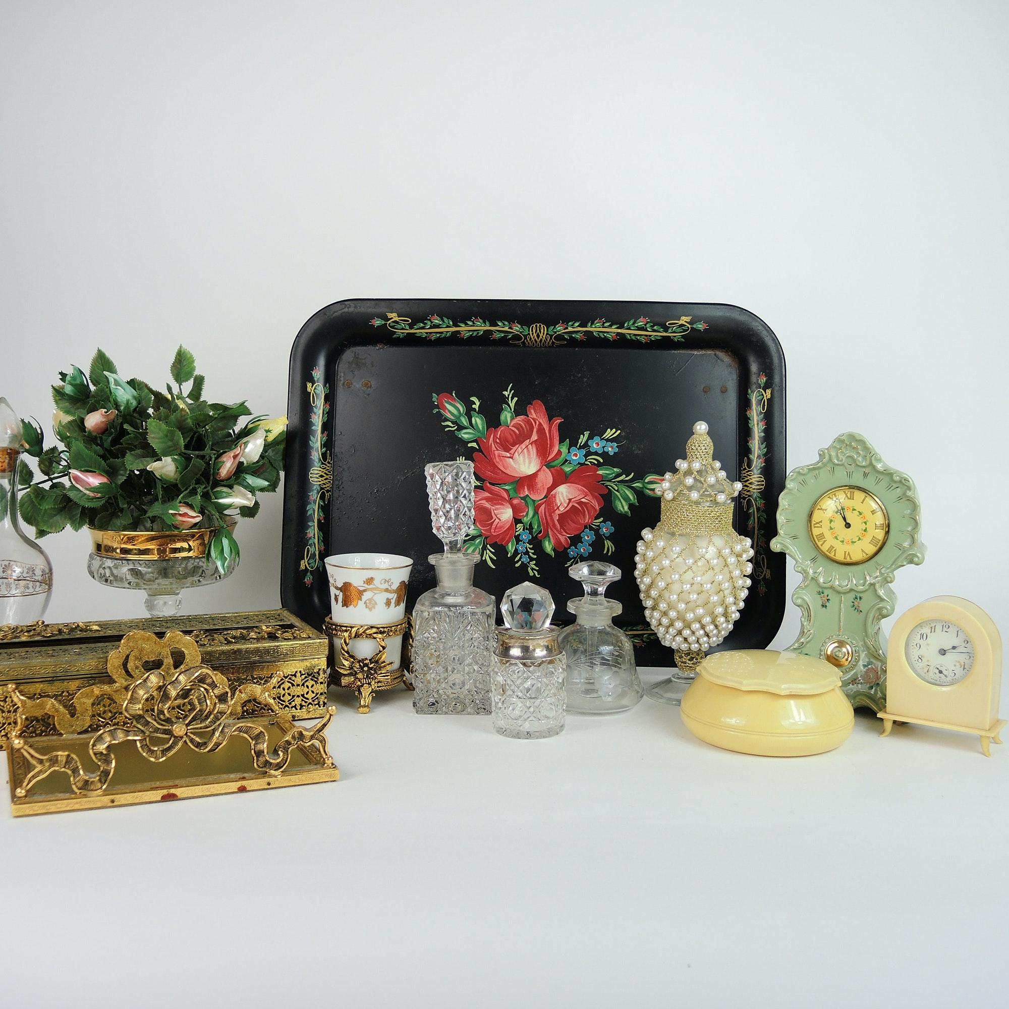 Bath Vanity Decor, Pierced Accessories, Bottles, Clocks and More