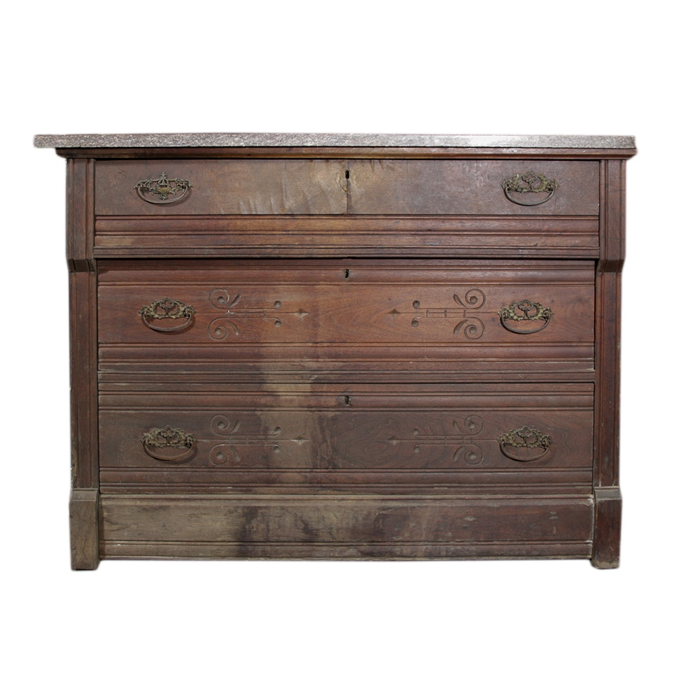 Early 20th Century  Chest With Marble Top