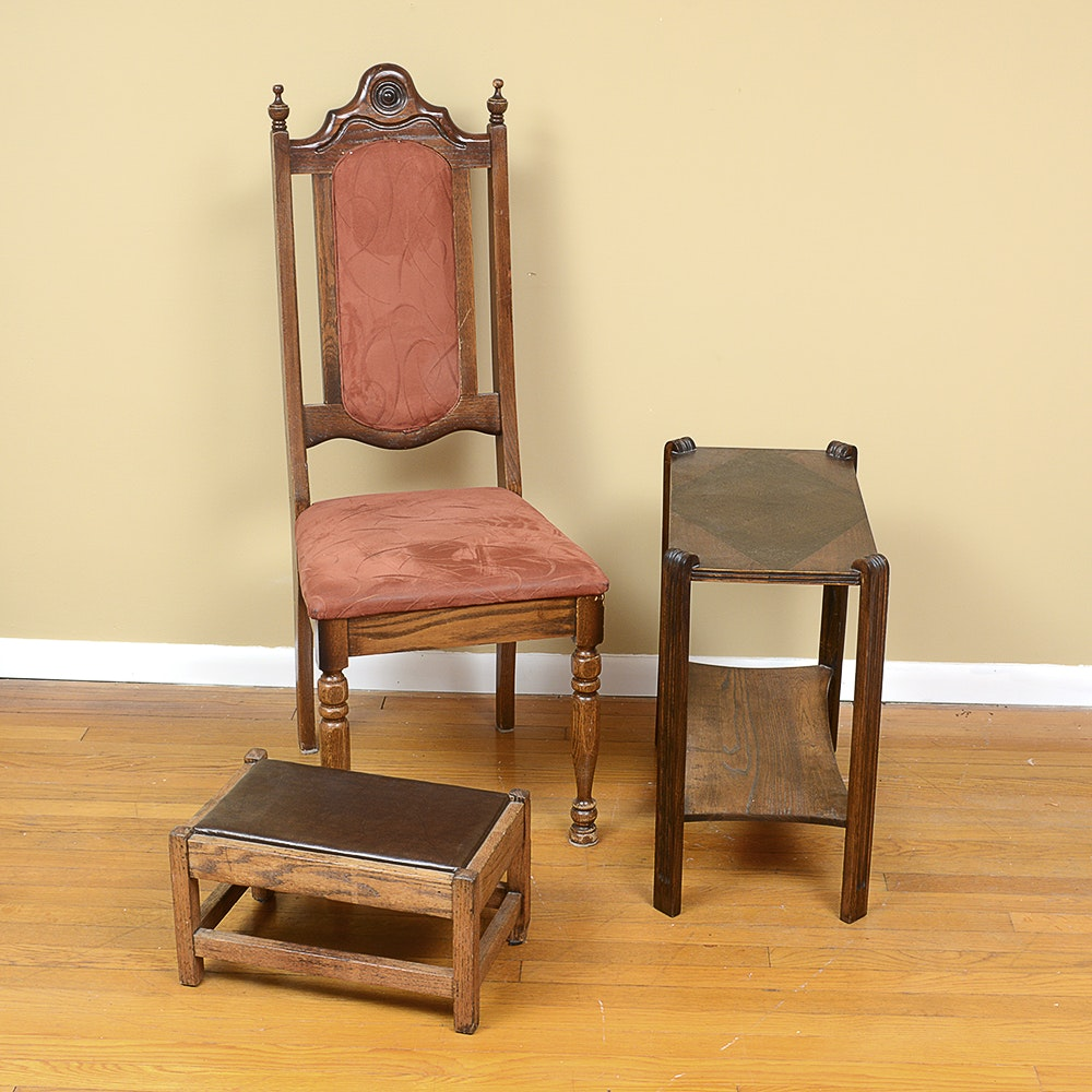 HIgh Back Chair, Accent Table, and Footstool