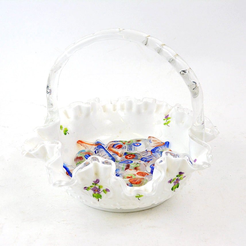 Hand-Painted Fenton Dish with Hand Blown Glass Candies