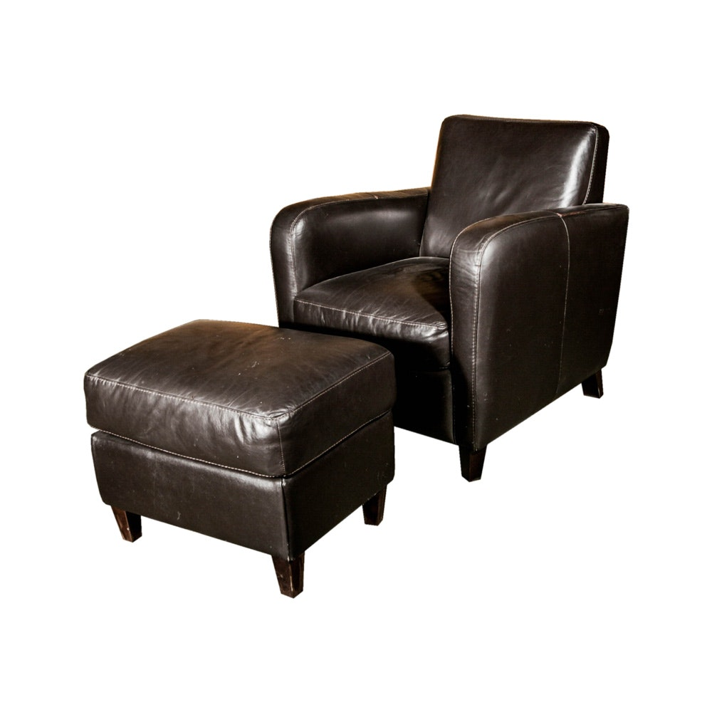 Leather Lounge Chair and Ottoman