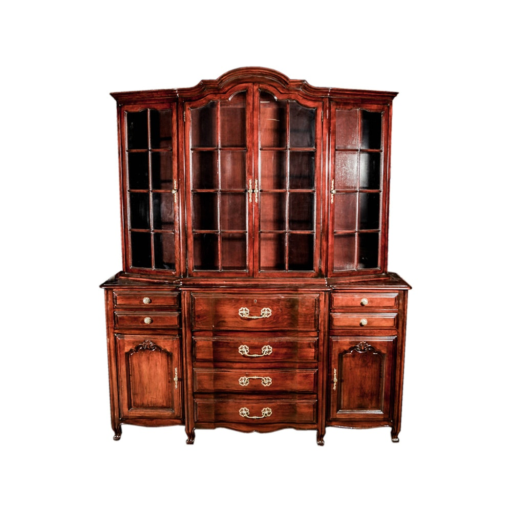Provincial French Style Breakfront Bookcase Secretary