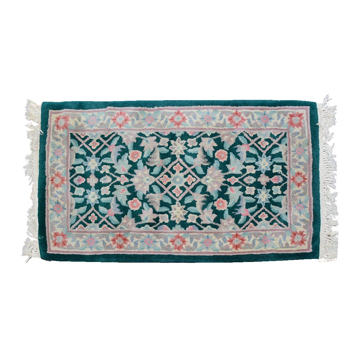 Machine Made Accent Rug with Floral Motif