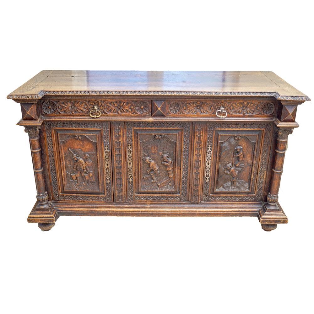 Antique Renaissance Style Oak Sideboard