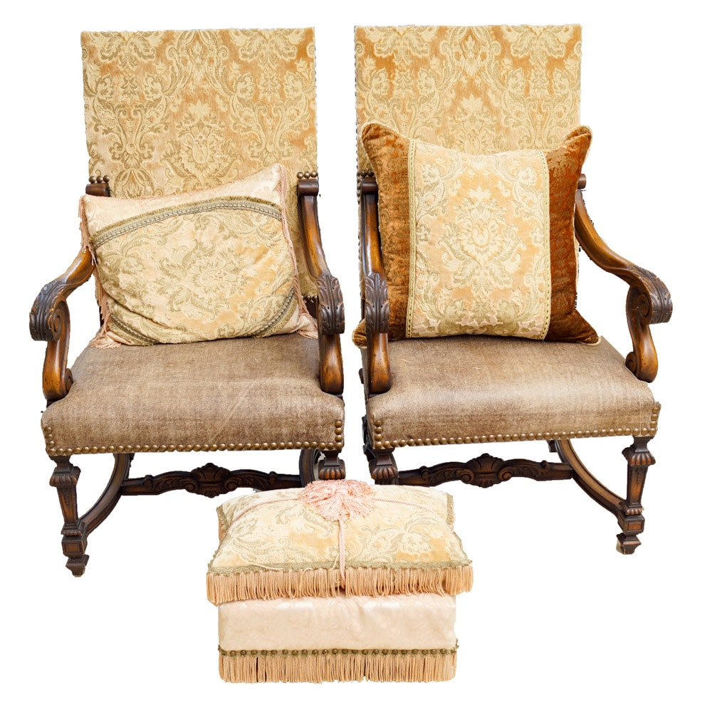 Jacobean Revival Style Armchairs with Ottoman