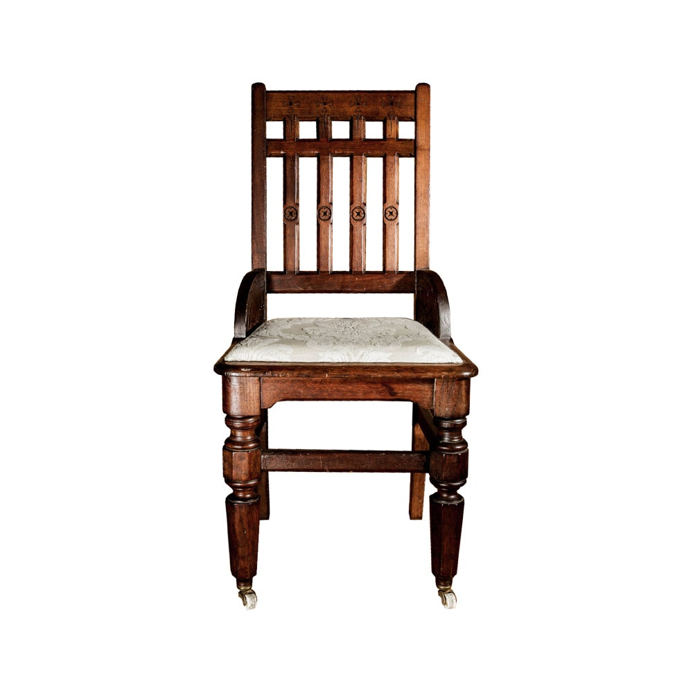 Antique Oak Chair With Front Casters