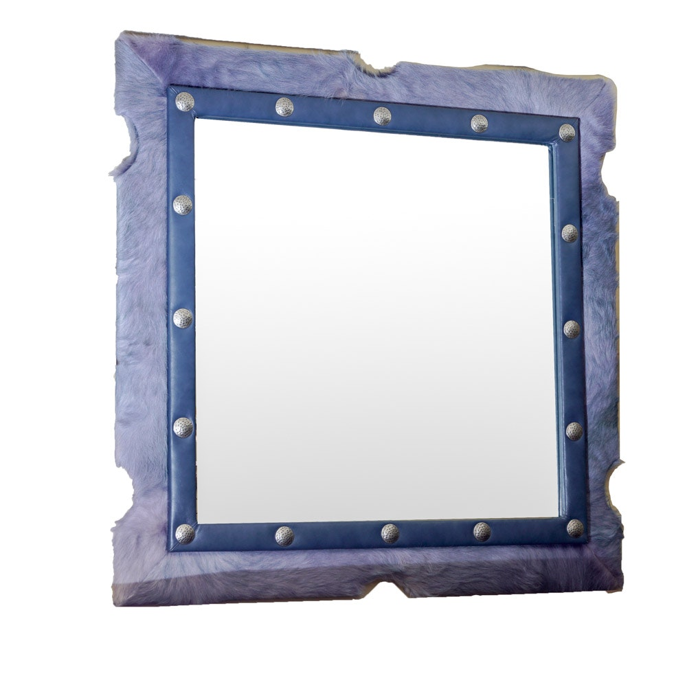 Mirror with Leather and Faux Fur Frame