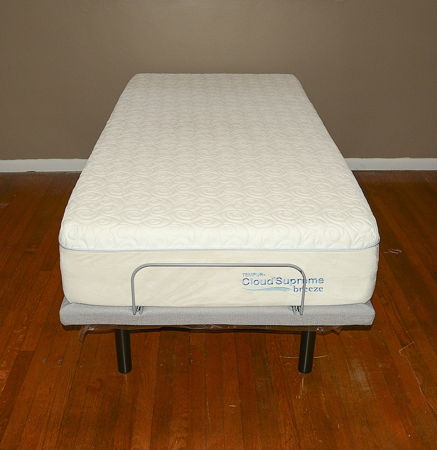 Tempur Pedic Twin Adjustable Bed Frame With Cloudsupreme Mattress Ebth