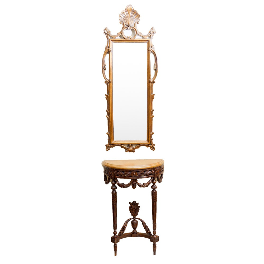John Richard Mirror and Neoclassical Style Hall Table