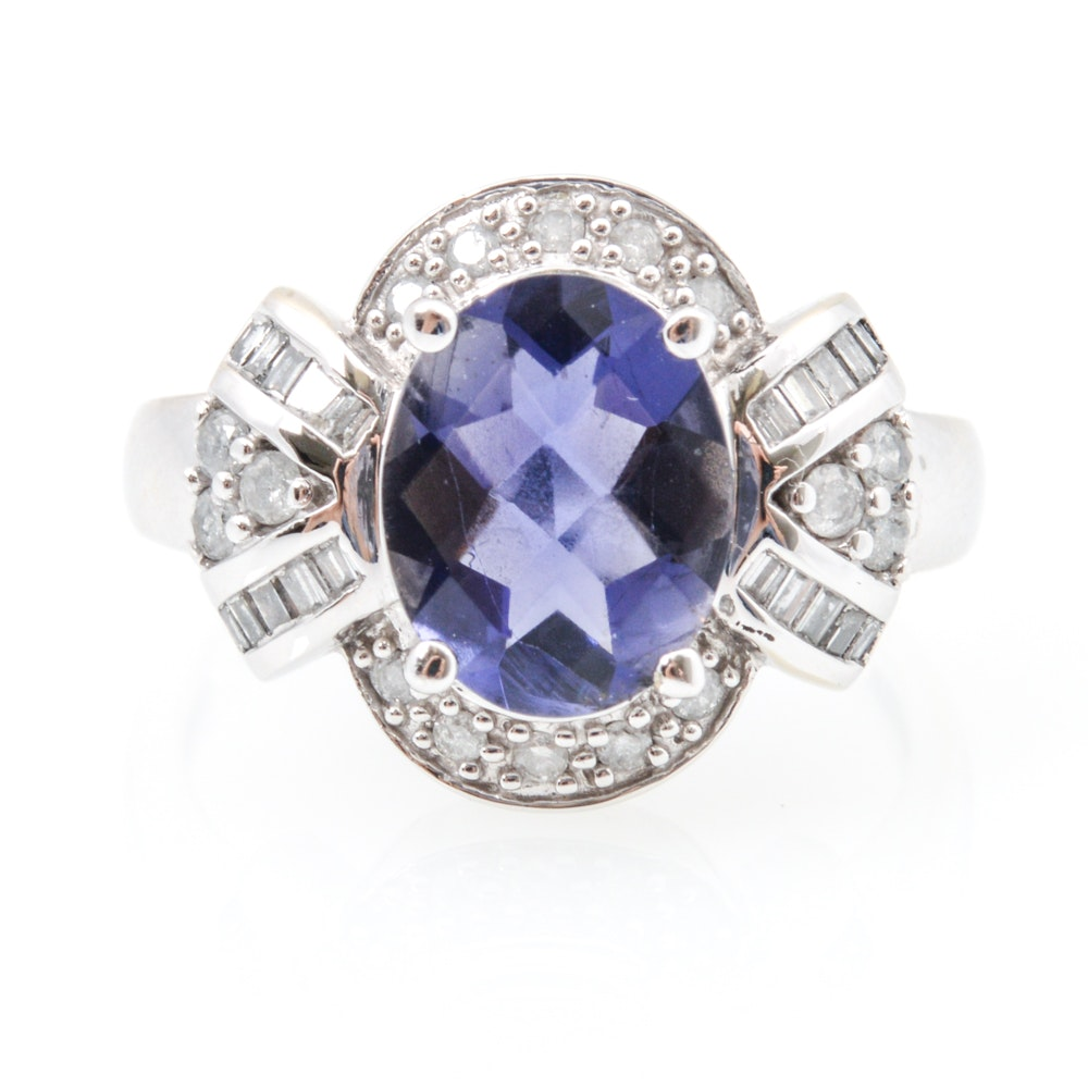14K White Gold, Diamond and Amethyst Ring
