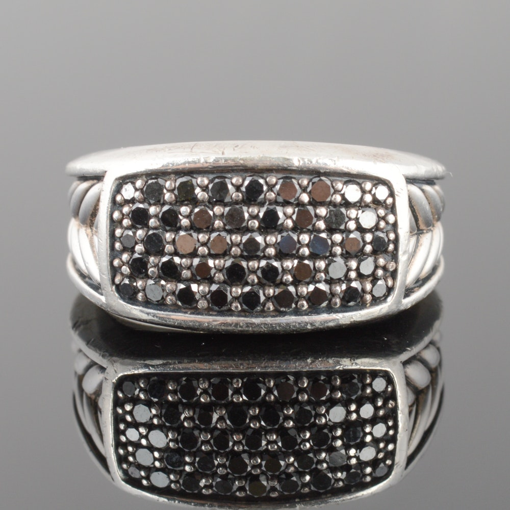 David Yurman Men's Sterling Silver 1.00 CTW Black Diamond Ring