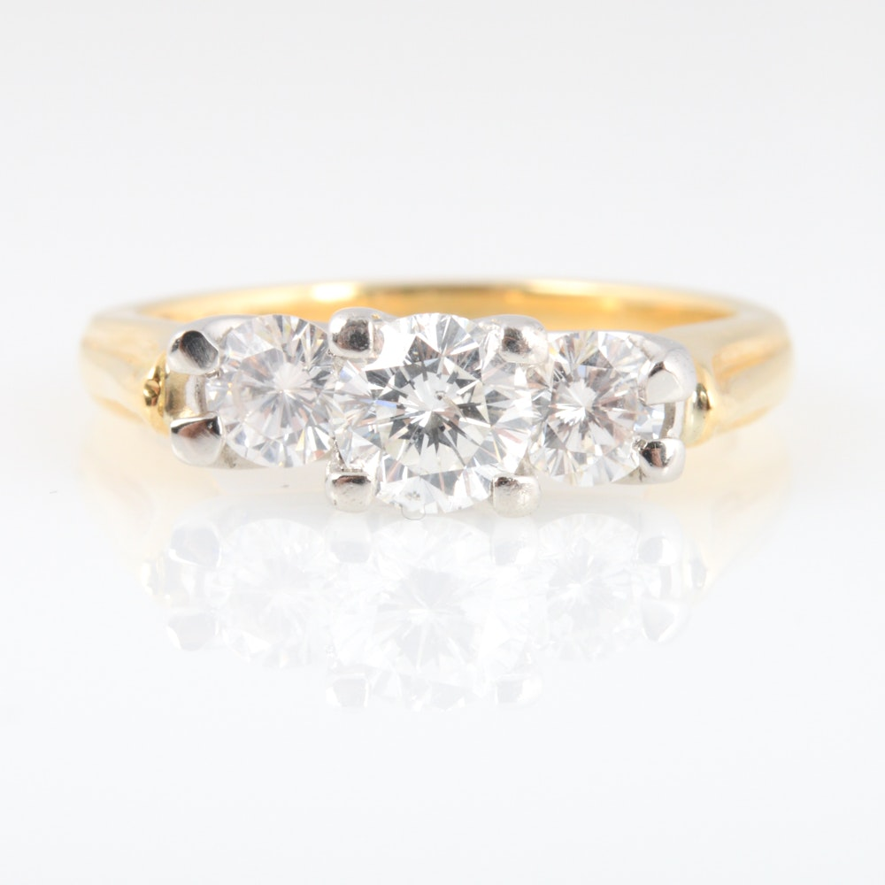 18K White Yellow Gold and 0.96 CTW Diamond Ring