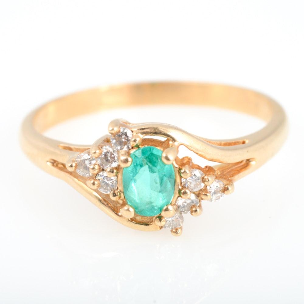14K Yellow Gold, Diamond and Tourmaline Ring