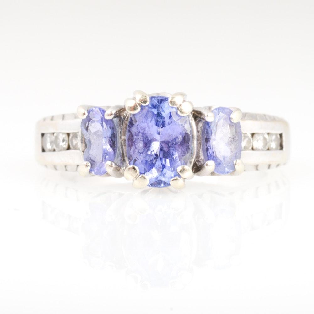 14K White Gold, Diamond and Tanzanite Ring